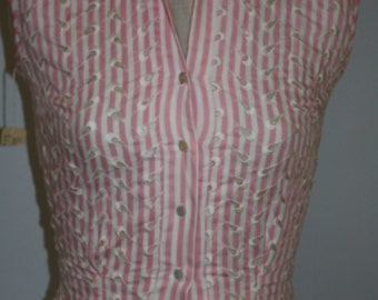 Vintage 1950's Blouse Skirt Set Pink White Striped Eyelet Design
