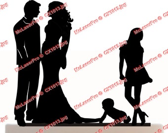 Custom Wedding Cake Topper , Couple Silhouette and any kid silhouette of your choise UP to 3 kids with free base for display after the event