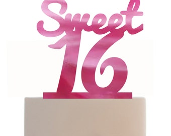 Custom Cake Topper Sweet 16 with your choice of color