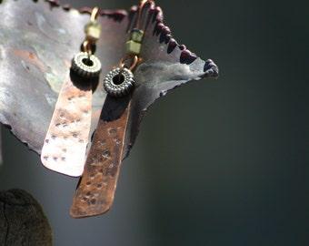 Rustic copper dangle earrings, Beaded earrings, Copper Jewelry