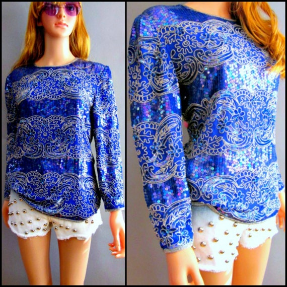 80s Vintage 1980s Blue iridescent Sequin & Silver Beaded Grunge Glam Disco Trophy Deco Avant Garde Dress Top Shirt