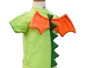 Dragon Shirt - size 3T - Lime Green T-Shirt with Dragon Spikes and Wings