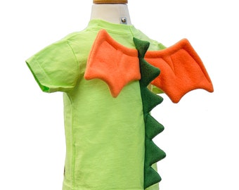 Dragon Shirt - size 4T/5T - Lime Green T-Shirt with Dragon Spikes and Wings