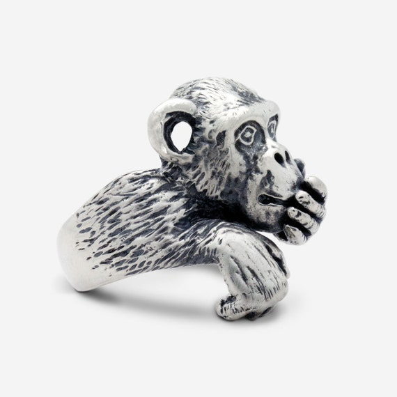 Sterling Silver Wise Monkey Ring