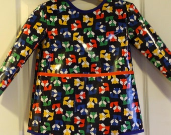 READY TO SHIP 4/5 Extra Long Long Sleeved Art Smock Painting Shirt with Foxes