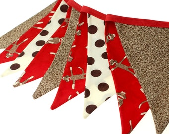 Sock Monkey Themed Fabric Pennant Bunting Banner - great for birthday party decor, nursery, playroom, photo prop