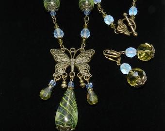 Butterfly Necklace, Blown Glass Jewelry, Earrings included