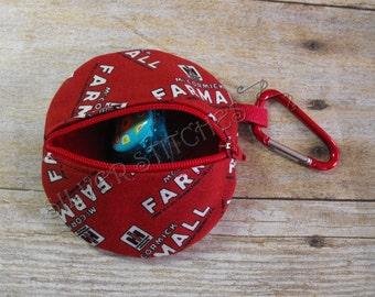 Pacifier Pod, Red Case IH, Paci Pod, Earbud Case, Diaper Bag Accessory, Fabric Pacifier Case, Binky Case, Nuk Case, Zipper Bag