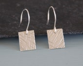 Silver Square Earrings - Hammered Textured Metalwork Sterling Silver Dangle Earrings Jewellery Gift for Her by Emma Dickie Design