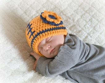 Crochet Baby Girl Football Flower Beanie - Newborn to Adult - Mango and Dark Country Blue - MADE TO ORDER