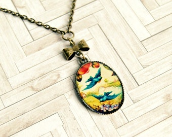 bluebird pendant, photo pendant, brass necklace, whimsical, gifts for her