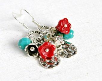 springtime drop earrings, dangle, silver charm earrings, flower, boho, hippie, french hook, czech glass earrings