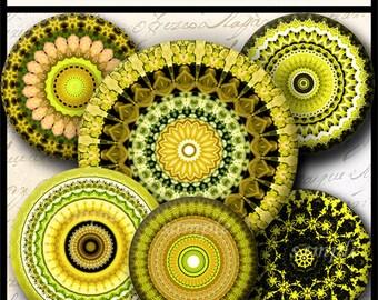 INSTANT DOWNLOAD Yellow Mandalas (712) 4x6 Bottle Cap Images Digital Collage Sheet for bottlecaps glass tiles hair bows ..  bottlecap images
