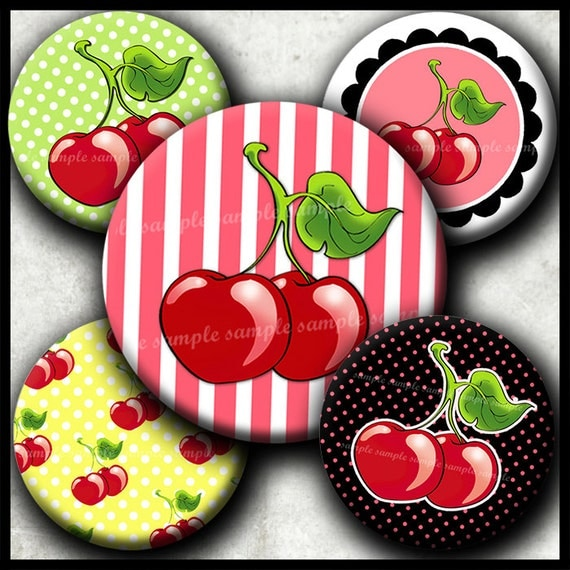 INSTANT DOWNLOAD I Love Cherries (190) 4x6 1 inch round Bottle Cap Images Printable Digital Collage Sheet glass tiles bows cabochon images