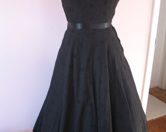 1940's Cotton Black Party Dress,  Johnnye Junior Tag