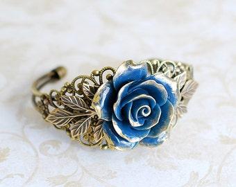 Dark Blue Rose Bracelet Navy Blue Flower Bracelet Filigree Wedding Bridal Cuff Bracelet Vintage Style Victorian Inspired Brass Leaf Bracelet