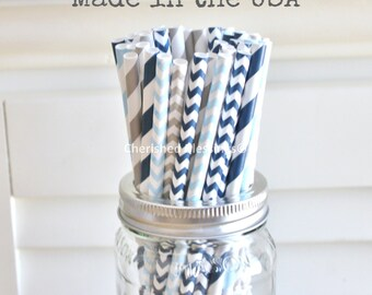 25 Blue and Grey Paper Straws, Baby Blue Paper Straws, Vintage Baby Shower, Rustic Wedding Straws, Kids, Cake Pop Sticks, Made in USA
