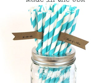 50 Aqua Paper Straws, Made in USA, Striped Paper Straws, Vintage Wedding, Rustic Baby Shower, Bridal Shower, Cake Pop Sticks Drinking Straws