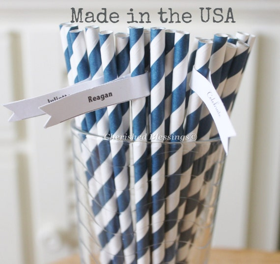 Navy Blue Paper Straws, 50 Navy Straws Made in USA, Rustic Wedding, Vintage Baby Shower, Paper Goods, Table Setting, Party Supplies