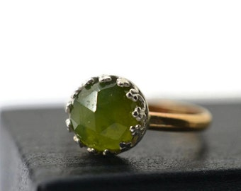 Forest Green Gemstone Ring, Vesuvianite Ring, Natural Gemstone Jewelry, 14K Gold Fill Ring, Green and Gold Jewelry