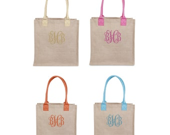 Jute Tote with Colorful Trims
