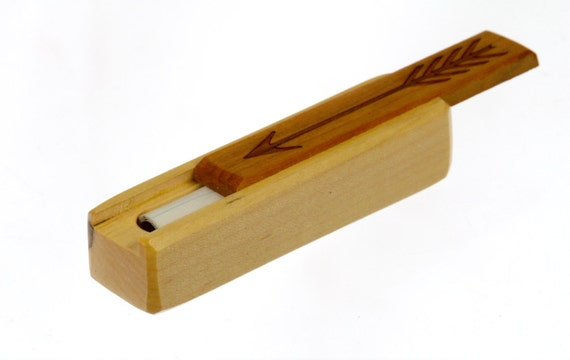 "Arrow Note Box 4""L x 1-1/4""W x 7/8""D, Cherry Lid, Hard Maple Bottom, Sliding Lid Box, Paul Szewc"