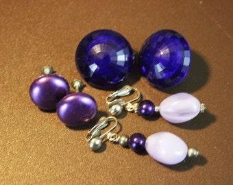 Vintage Purple Earrings - Mid Century Gold  Clip On Earrings  - Destash 3 Pairs
