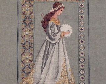Celtic Lady of Winter Cross Stitched Picture