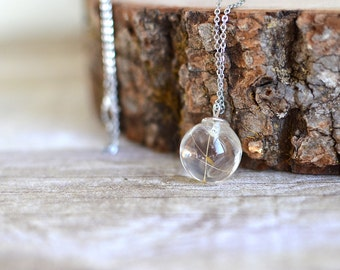 Dandelion necklace, dandelion jewelry Make a wish resin orb sphere necklace - gift for a woman, gift under 30,