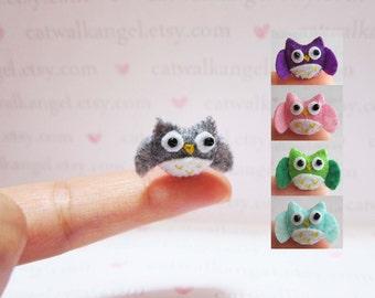 Felt Miniature - Felted Miniature owl - Felted owl - grey felted miniature owl  - owl miniature - tiny owl - felted grey owl - tiny owl