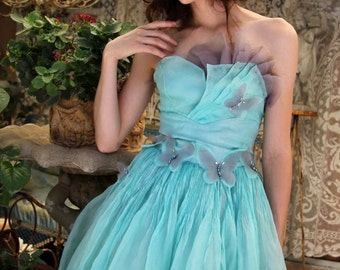 Redesigned Strapless Fan Bustier Dress SILK Cocktail Dress, BUTTERFLIES Swarovski Crystals, Prom Dress, Handmade Clothing by Tatiana Andrade