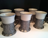 Set of 6 Pfaltzgraff Pottery Mugs and Punched Tin Holders - Yorktowne Tinsmith Pattern