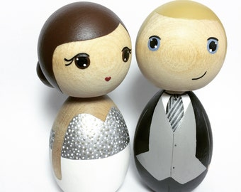 Kokeshi Doll Wedding Cake Toppers Custom Hand Painted