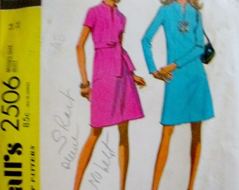 McCalls 2506 Womens 70s Dress in Two Versions Sewing Pattern Bust 36