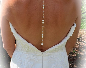 BACKDROP Necklace with Cubic Zirconia Tear Drop, Rhinestones, Pearl and Crystal Accents, Bridal Necklace, Wedding Necklace, Single Strand