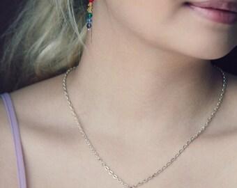 Rainbow necklace with crystals- gay pride necklace