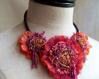 PARTY GIRL Mixed Media Beaded Textile Statement Necklace