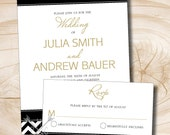 Black White and Gold Chevron Wedding Invitation and Response Card - 100 Professionally Printed Single Sided Invitations & Response Postcards
