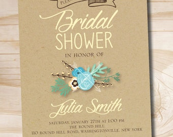 VINTAGE FLORAL Bridal Shower/ Baby Shower Invitation - Printable digital file or printed invitations