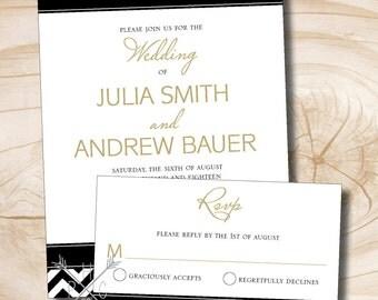 Black White and Gold Chevron Wedding Invitation and Response Card Invitation Suite