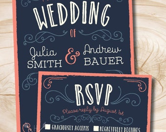 Navy and Coral Vintage Scroll Poster Style Rustic Wedding Invitation and Response Card Invitation Suite
