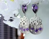 Amethyst Gemstone Earrings, Chandelier Earrings, Dangle Earrings, Drop Earrings, Posts, February Birthday, Bridal Jewelry, Modern, Valentine