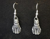 Sterling Silver Cat Earrings on Heavy Sterling Silver French Wires