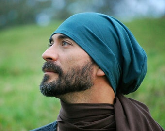 Men's Hat - Unisex Hat - Slouchy - Beanie - Spruce Green - Eco Friendly  Jersey - Organic Clothing - Ready to Ship
