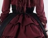 Bustle back High waist skirt green red blue white black victorian Gothic Lolita military CUSTOM SIZE