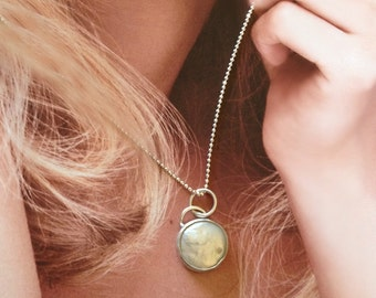 Floating Moon Coin Pearl and sterling silver Pendant, classic jewelry, pearl necklace, silver and pearl necklace,