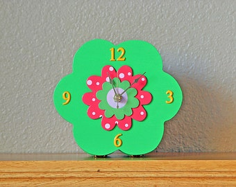 Flower Table Top Clock, Childrens Decor, Table Top Clock, Flower Clock, Childs Clock, Nursery Clock, Girls Clock, Whimsical Clock,