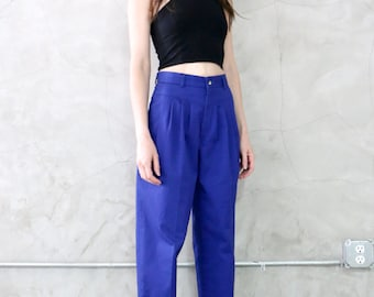 blue trousers, blue pants, 1980's blue pleated high waisted tapered minimal trouser pant, women's