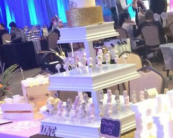 Large 3 Tier Custom Cake Pop Stand.  Features Alternating Row Depths.  Can Hold  Up To 324 Cake Pops.