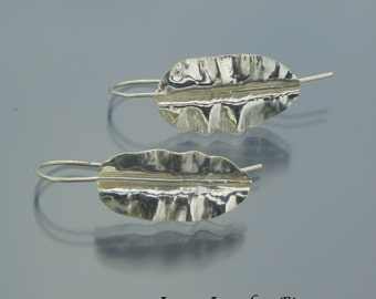 Sterling Silver Leaf Earrings - Fold Formed Leaf Earrings - Leaf Dangles - Leaf Drop Earrings - FREE SHIPPING